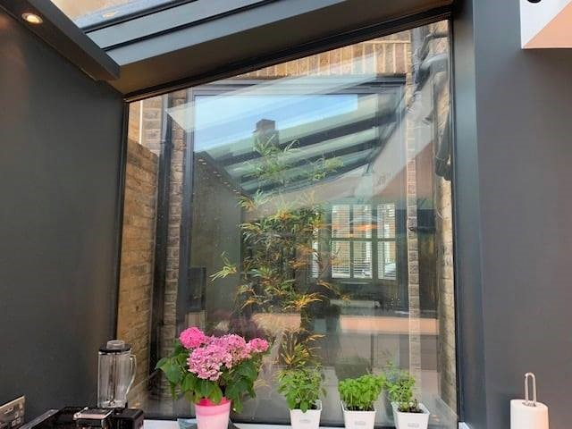 Glass extension outside
